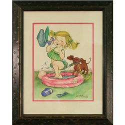 Vintage 70's Art girl puppy watercolor McMain #2393521