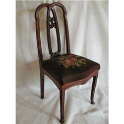 Mahogany Needlepoint Chair Carved Unique C.1900#2393524