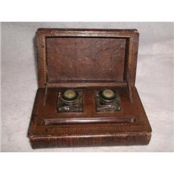 Leather Book Inkwells Dual England Mid 19th C #2393527