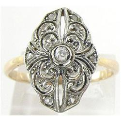 Antique 18K Gold with Diamond Art Nouveau Ring #2393541