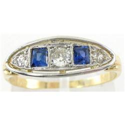 1920's 18K Gold Diamond  Sapphire Deco Ring #2393542