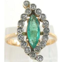 Retro 18K Gold Platinum Diamond Emerald Ring #2393546