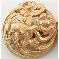Antique 18K Gold Floral Motif Nouveau Cufflinks#2393547