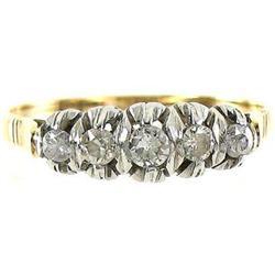 Retro 1950's 18K Gold Platinum Five Diamond #2393548