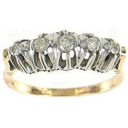 1950's 18K Gold Platinum 5 Diamond Anniv Ring #2393549