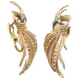 18K Rose Gold Diamond Deco 1950's Earrings #2393551