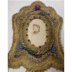 Victorian IROQUOIS BEADED PHOTO FRAME #2393593