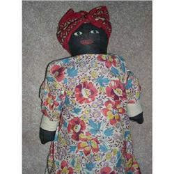 """17"""" Black Cotton Stuffed Painted Feature Doll #2393619"""
