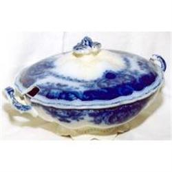 Flow blue covered tureen #2393681