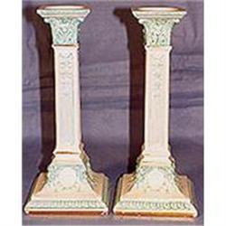 English white/aqua Majolica candlesticks (pair)#2393683