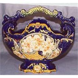Majolica cobalt blue floral basket #2393684