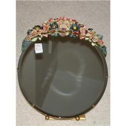 "Mirror ""Barbola"" w/beveled glass and floral #2393688"