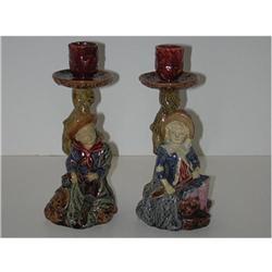 Pair of majolica figural candlesticks #2393693