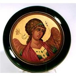 "Russian lacquer circular box ""winged angel #2393700"