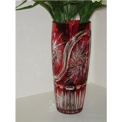 Large crystal vase - Cut ruby to clear #2393702
