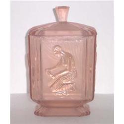 Pink Depression Glass Pandora Deco Dresser Jar #2393712