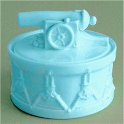 PORTIEUX Blue Milk Glass Toy Cannon on Drum  #2393732