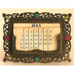 Ornate Brass Vanity Calendar with Glass Jewels #2393749