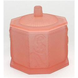 Pink Satin Glass Female Figural Powder Jar #2393814