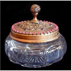 Pink Glass Jeweled Empire Art Gold Dresser Jar #2393826