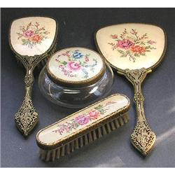 Petit Point Emroidered and Brass Dresser Set #2393829