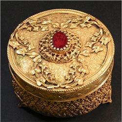 Jeweled, Glass and Brass Dresser Jar #2393840