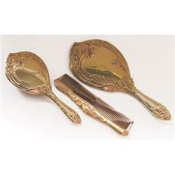 Ormolu Art Nouveau Mirror, Brush & Comb Set #2393841