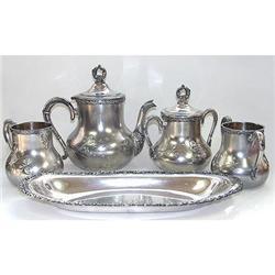 Art Nouveau Victor Silver Co. Tea Set #2393842