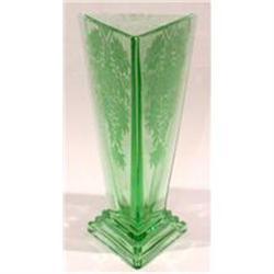 New Martinsville Glass Green Modernistic Vase #2393846