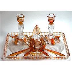 Bohemian Crystal Pressed Glass Vanity Set #2393847
