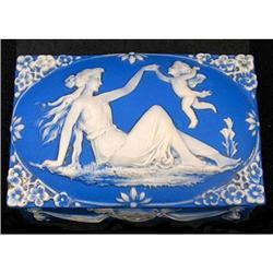 Schafer & Vater Blue Jasperware Powder Box #2393851