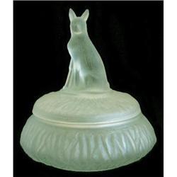 RIN TIN TIN Green Satin Glass Powder Jar #2393854