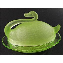 Sowerby Vaseline Rosalin Swan Lid Butter Dish #2393857