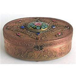 Empire Art Gold Brass, Enamel Glass Jeweled Box#2393858
