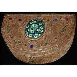 Empire Art Gold Ormolu Enamel Glass Jeweled Box#2393859