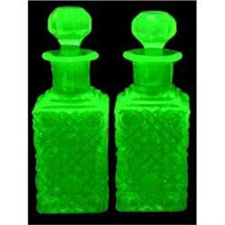 Boston Sandwich Vaseline Glass EAPG Decanters #2393860