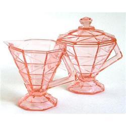 Cracked Ice Sugar Bowl, Lid and Creamer Set #2393862