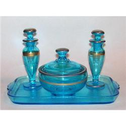 Blue Paden City Glass Perfume Bottle Set #2393864