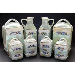 German Lusterware Art Deco 8 Pc. Canister Set #2393867