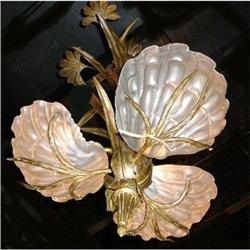 Bronze and Crystal Art Nouveau Chandelier #2393877