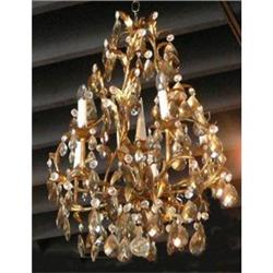 Gilded Tole  and Crystal Chandelier #2393880
