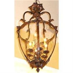 Pair of Bronze Lanterns Chandeliers Fixtures #2393904