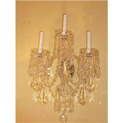 Pair of Crystal Sconces Wall Lights #2393907
