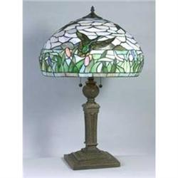 LEADED GLASS BIRD IN FLIGHT LAMP  / NEW #2393914