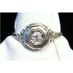 14K WG Diamond Filigree Ring Antique Victorian #2393918