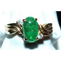 1 1/4 Carat Cabochon Emerald/Diamond Ring 14K #2393919