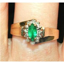 Emerald & Diamond 14K Y&W Gold Ring Band #2393920