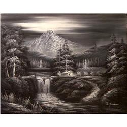 ORIG OIL PAINTING LANDSCAPE IN BLACK & WHITE #2393921