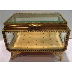Beveled Glass French Jewelry Casket Box #2393941