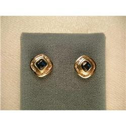 Rare 14K Gold Sapphire Channel Diamond Earrings#2393948